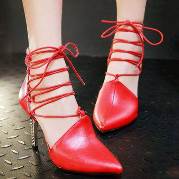 Buy Chic Tie Pointed Toe Design Women's Pumps RED