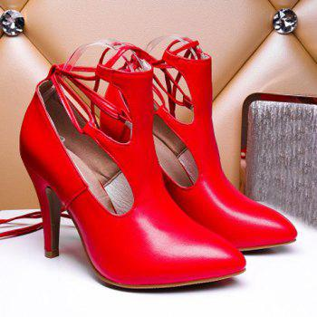 Trendy Cut Out and Lace-Up Design Women's Pumps