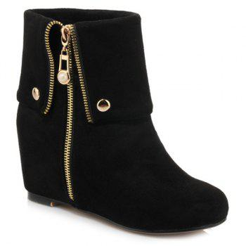 Fashionable Increased Internal and Zipper Design Women's Short Boots
