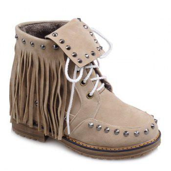 Punk Rivet and Fringe Design Women's Short Boots