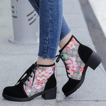 Stylish Floral Print and Chunky Heel Design Women's Short Boots - BLACK 37