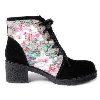 Stylish Floral Print and Chunky Heel Design Women's Short Boots - BLACK 38
