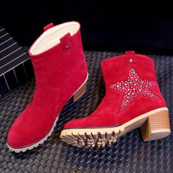 Trendy Star and Rhinestones Design Women's Short Boots - RED 38