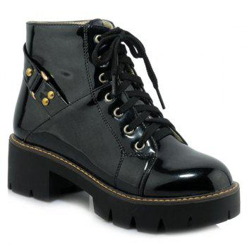 Casual Patent Leather Lace-Up Design Women's Short Boots BLACK