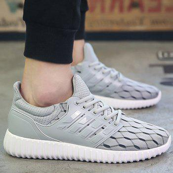 Buy Fashion Solid Colour Breathable Design Men's Athletic Shoes LIGHT GRAY
