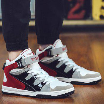 Buy Trendy High Top Colour Block Design Men's Athletic Shoes RED