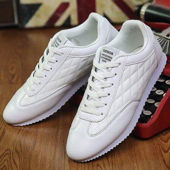 Fashionable Checked and Solid Color Design Men's Athletic Shoes - WHITE 43