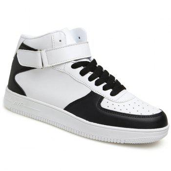Buy Fashionable High Top PU Leather Design Men's Athletic Shoes WHITE/BLACK