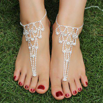 Openwork Rhinestoned Anklets -  SILVER