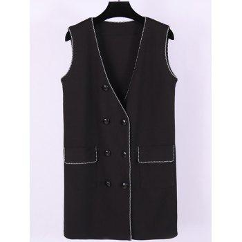 Plus Size Double Breasted Flap Pockets Waistcoat