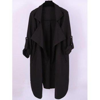 Plus Size Adjustable Sleeve Trench Coat