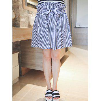 Plus Size Sweet Tie-Front Striped Skirt