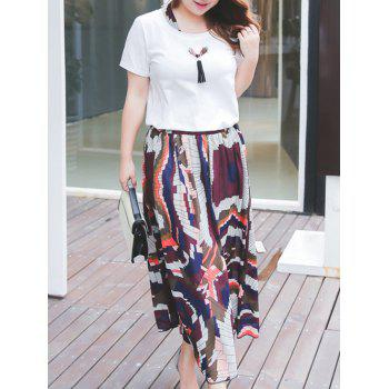 Plus Size Tie Neck T-Shirt and Printed Maxi Skirt