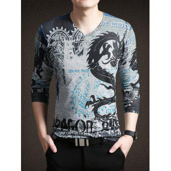 Totem Print V-Neck Long Sleeve Men's T-Shirt