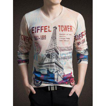 3D Tower Print V-Neck Long Sleeve Men's T-Shirt