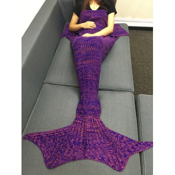 Stylish Multicolor Knitting Sleeping Bag Fish Tail Design Blanket For Adult - PURPLE PURPLE