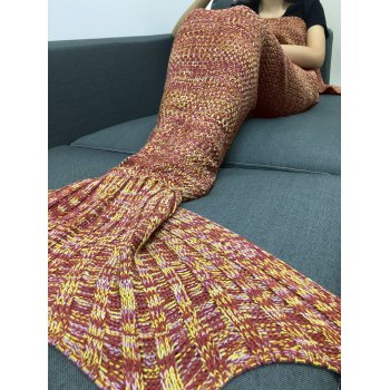 Stylish Multicolor Knitting Sleeping Bag Fish Tail Design Blanket For Adult - SWEET ORANGE