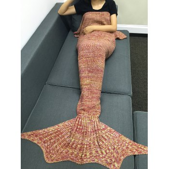 Stylish Multicolor Knitting Sleeping Bag Fish Tail Design Blanket For Adult