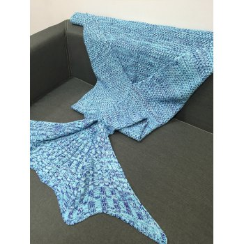 Stylish Multicolor Knitting Sleeping Bag Fish Tail Design Blanket For Adult -  LIGHT BLUE