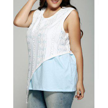 Plus Size Lace Patchwork Asymmetrical Tank Top