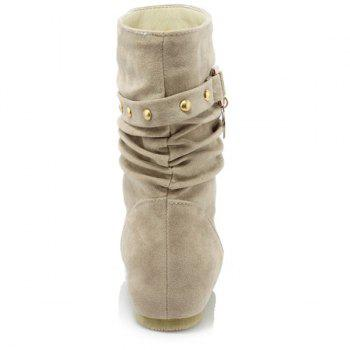 Stylish Metal and Increased Internal Design Women's Boots - LIGHT KHAKI 37