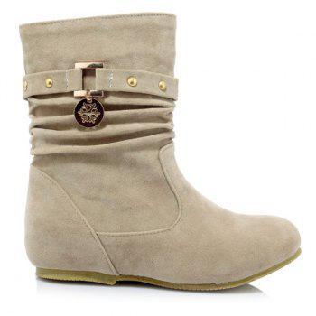 Stylish Metal and Increased Internal Design Women's Boots - LIGHT KHAKI 38