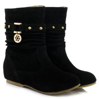 Stylish Metal and Increased Internal Design Women's Boots - BLACK 37