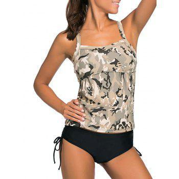 Stylish Camo Print Criss Cross Swim Top