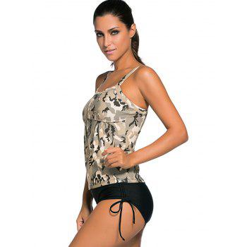 Criss Back Padded Camouflage Tankini Swimsuits - S S