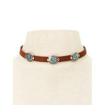 Punk Style Faux Leather Blossom Choker - BROWN