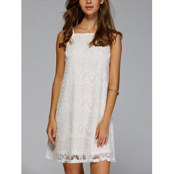Stylish Spaghetti Strap Crochet Solid Color Mini Dress