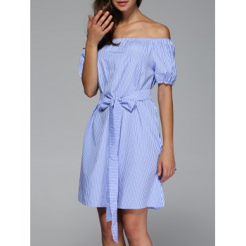 Off The Shoulder Bowknot Striped Mini Dress
