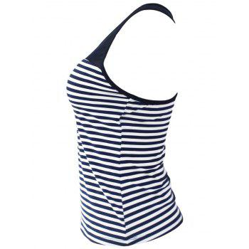 Mesh Panel Racerback Stripe Padded Tankini Top - STRIPE XL