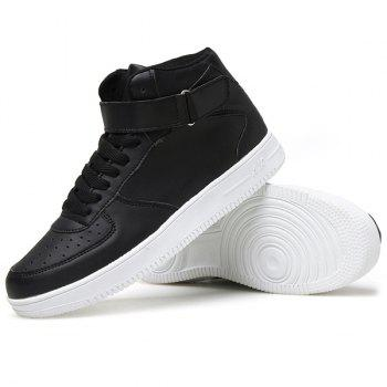 Fashionable High Top and PU Leather Design Men's Athletic Shoes - BLACK 41