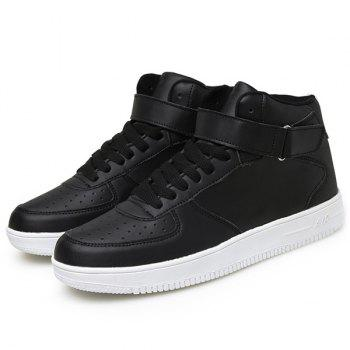 Fashionable High Top and PU Leather Design Men's Athletic Shoes - BLACK 44