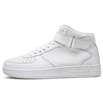 Fashionable High Top and PU Leather Design Men's Athletic Shoes - WHITE 40