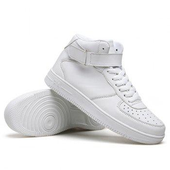 Fashionable High Top and PU Leather Design Men's Athletic Shoes - WHITE 44