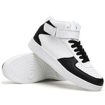 Fashionable High Top and PU Leather Design Men's Athletic Shoes - WHITE/BLACK 43