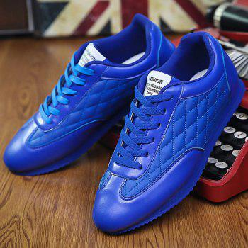 Fashionable Checked and Solid Color Design Men's Athletic Shoes - SAPPHIRE BLUE 41