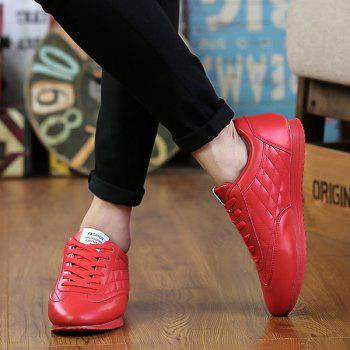 Fashionable Checked and Solid Color Design Men's Athletic Shoes - RED 44