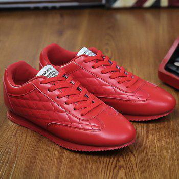Fashionable Checked and Solid Color Design Men's Athletic Shoes - RED 43