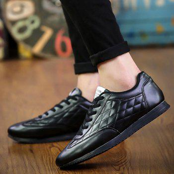 Fashionable Checked and Solid Color Design Men's Athletic Shoes - BLACK 40