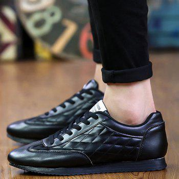 Fashionable Checked and Solid Color Design Men's Athletic Shoes - BLACK 42