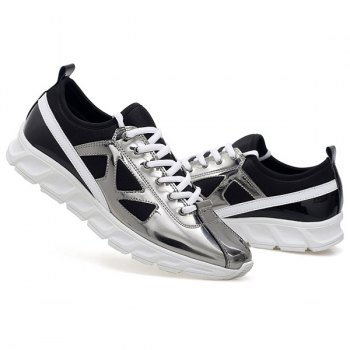 Stylish Color Block and Splice Design Men's Athletic Shoes - SILVER 40