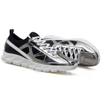 Stylish Color Block and Splice Design Men's Athletic Shoes - SILVER 41
