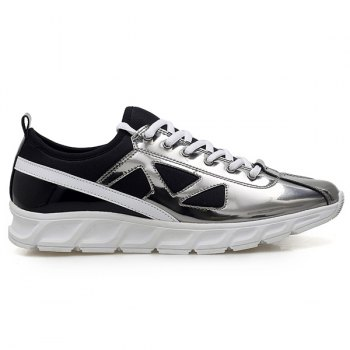 Stylish Color Block et Splice Design Men's Athletic Shoes - Argent 44