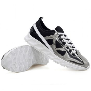 Stylish Color Block et Splice Design Men's Athletic Shoes - Argent 43
