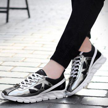 Stylish Color Block and Splice Design Men's Athletic Shoes - SILVER 43