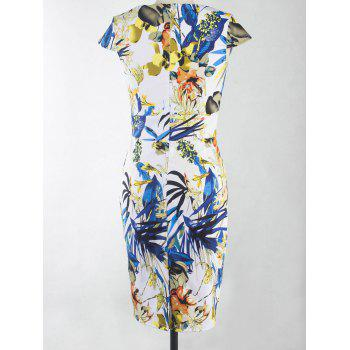 Fashionable Floral Print Skinny Slimming Women's Dress - COLORMIX 2XL