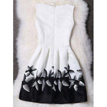 Stylish Round Collar Sleeveless Printed Slimming Women's Dress - WHITE XL